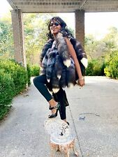 New Custom made Unusual Silver fox tails Fur Vest Sleeveless coat Jacket S-M 2-9