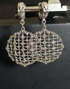 Designer Judith Ripka Sterling Silver 18k Yellow Gold Cluster Earrings - E1