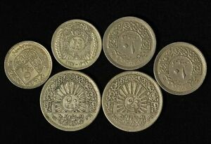 Lot of (6) 1948 Syrian Coins - 5,10,25 & 50 Piastres - Free Shipping USA