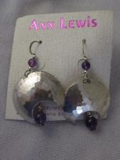 ANN LEWIS H/M STERLING SILVER HAMMERED CRESCENT DANGLE EARRINGS W/ AMETHYST BEAD