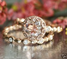 2.57cts Round Natural Topaz Engagement Ring Wedding Band 14ct Solid Rose Gold