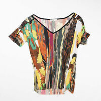 Etro Milano Mix Abstract Print Pattern Jersey Knit Stretch Short Sleeve Shirt