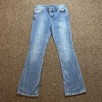 Maurices Light / Medium Blue Wash Button Pockets Boot Cut Jeans Size 3/4 Reg