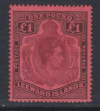 LEEWARD ISLANDS 1938-51 £1 WITH BROKEN LOWER RIGHT SCROLL SG 114ae MINT.