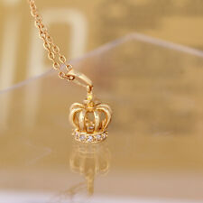 King Crown 18K Yellow Gold Plated Crystal Pendant Sweater Necklace Women Jewelry