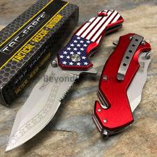 American Flag Half Serrated Spring Assisted Outdoor Handy Pocket Knife TAC-FORCE