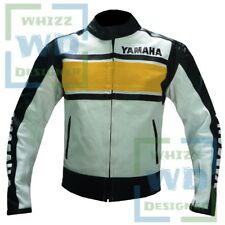 MENS MOTORCYCLE JACKETS YAMAHA 5241 Yellow Motor Biker Armoured Cow Leather Coat