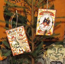 2 Prim Antique Vtg Style Halloween Black Cat Spooky Hanging Metal Tin Signs Set