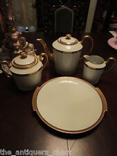 Limoges France fine china, cobalt and gold, coffee pot, creamer, sugar,tray 4pcs