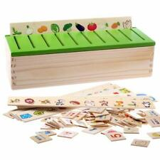 Wood Domino Study Box Montessori Early Educational Toy for Kids Learning BB3