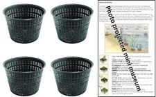 4 X 13cm round plastic aquatic pots baskets for water plants and pond & guide