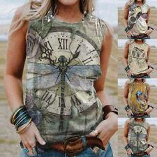 Womens Vintage Print T Shirt Blouse Ladies Summer Short Sleeve Loose Tee Tops