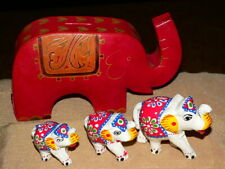 Collectible Elephant Items-Embossed Genuine Leather Coin Bank + Figurine Family