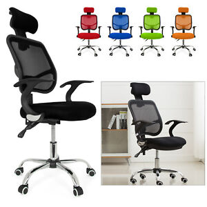 Seat Height Adjustment Office Chair Computer Desk Chrome Mesh Seat Ventilate UK