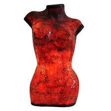 Fabulous Large  Mosaic Glass Crackle Red Ladies Bust Torso Lamp