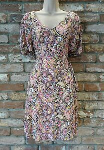 NEXT BNWT Ladies casual  jersey  floral boho wrap dress summer spring pink 12 T