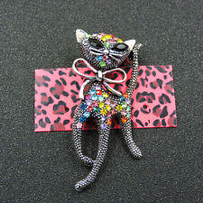 Cat Crystal Charm Brooch Pin Gift New Betsey Johnson Colorful Enamel Bowknot