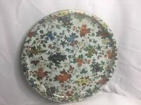 """Vtg DAHER DECORATED WARE Round Tin Tray Paisley Floral Pattern England 16"""" Dia."""