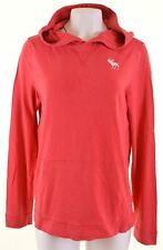 ABERCROMBIE & FITCH Womens Hoodie Jumper Size 16 Large Red Cotton Muscle HO07