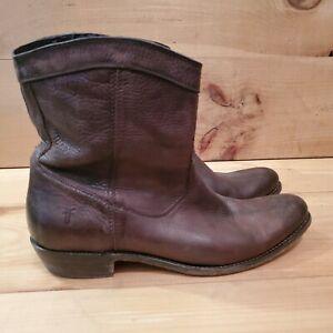 Frye Western Cowboy Biker Cognac Ankle Boots Womens 10B