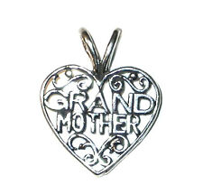 STERLING SILVER Word Charm Pendant GRANDMOTHER HEART