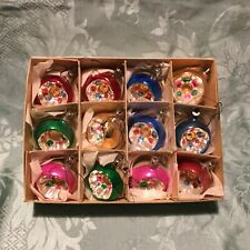 Box Of Vintage Fancy Coloured Glass Christmas Tree Reflector Ornaments.12.