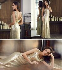 AU8-20 Gold Sequins Formal Evening Wedding Cocktail Party Dress Celebrity 07110