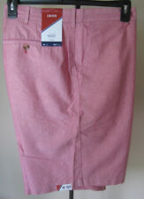 NWT Men's IZOD Newport Oxford Shorts 42W Solid Red Pink Lightweight 100% Cotton