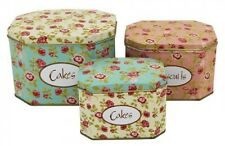 Cake Tin Vintage Metal Shabby Cabbage Rose's Cake Biscuits Tins Canisters