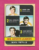 1972-73 TOPPS # 62 ORR / ESPOSITO / RATELLE LEADERS EX-MT CARD (INV# C5640)