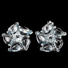 Sterling Silver 925 Genuine Natural Cabochon Sky Blue Topaz Stud Earrings