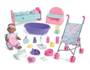 """My Sweet Love Deluxe 14"""" Baby Doll Play Set, 23 Pieces, African American"""