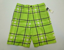 Zoo York Mens Size 30 Green Checkered Button Waist Board Shorts New