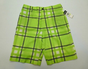 Zoo York Board Shorts Mens 30 Green Checkered Button Waist  New With Tags