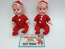 Lot of 2 Vintage 70s Mego Corp 10 inch Freckles Doll Christmas Doll Decor