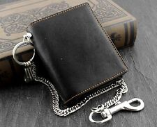 Mens Biker Leather Money Clip Wallet With Anti Theft Chain Korean Fashion Black