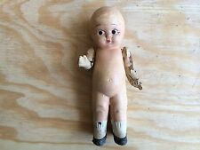 Rare Antique Composition Doll Creepy w/Hole In Head! Hand Painted Features Nice!