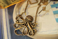 Steampunk Jewelry Vintage Bronze Octopus Long Pendant Chain Necklace Hot B28