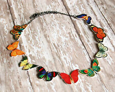 rainbow butterfly moth bug insect charm necklace monarch orange blue red yellow