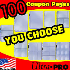 100 EXTREME COUPON SLEEVES BINDER HOLDER ORGANIZER PAGE PAGES SET MAKE YOUR OWN