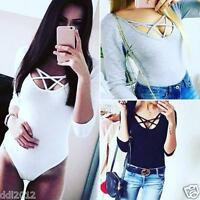 AU Women's Long Sleeve Jumpsuit Bodysuit Stretch Leotard Top Blouse T-Shirt