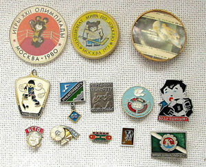 USSR Collection of 13 old enamel Soviet sport badges, The 1980 Summer Olympics
