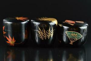 L1082: Japanese Wooden Resin gold lacquer pattern TEA CADDY Natsume 3pcs