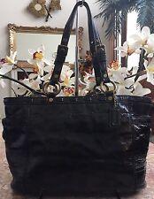 COACH 11500 Gallery Black Patent Leather Laced Tote Shoulder Handbag  EUC