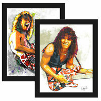 "Eddie Van Halen (Set of 2) 11x14"" Framed Music Art Print Poster w/COA"