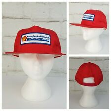 Vintage Shell Marine Service Worldwide Snapback Nylon Ball Cap Hat Red w/Patch