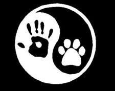 Ying yang human hand dog paw decal sticker.