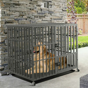 """38"""" Large Steel Frame Dog Cage Pet Crate Kennel Strong Metal Tube Double Door"""