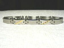 14k Gold And Stainless Steel Diamond Link Bracelet....