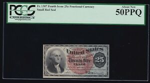 US 25c Forth Issue Fractional Currency Small Red Seal FR 1307 PCGS 50 PPQ AU